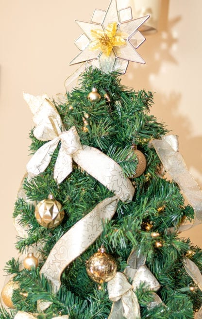 Christmas Tree With Ribbon Close Up