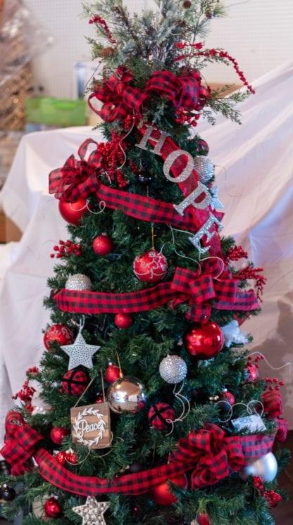 Christmas Tree Red Plaid Ribbon