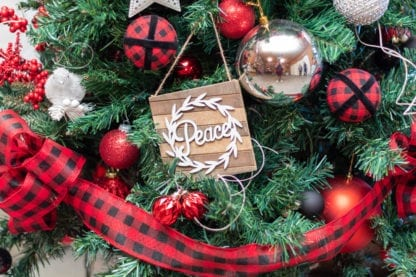 Hope Christmas Tree Peace Wooden Ornament