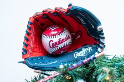 Cardinals baseball Christmas tree topper baseball glove