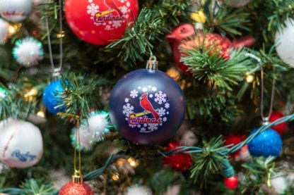 Close up of Cardinals baseball tree ornament
